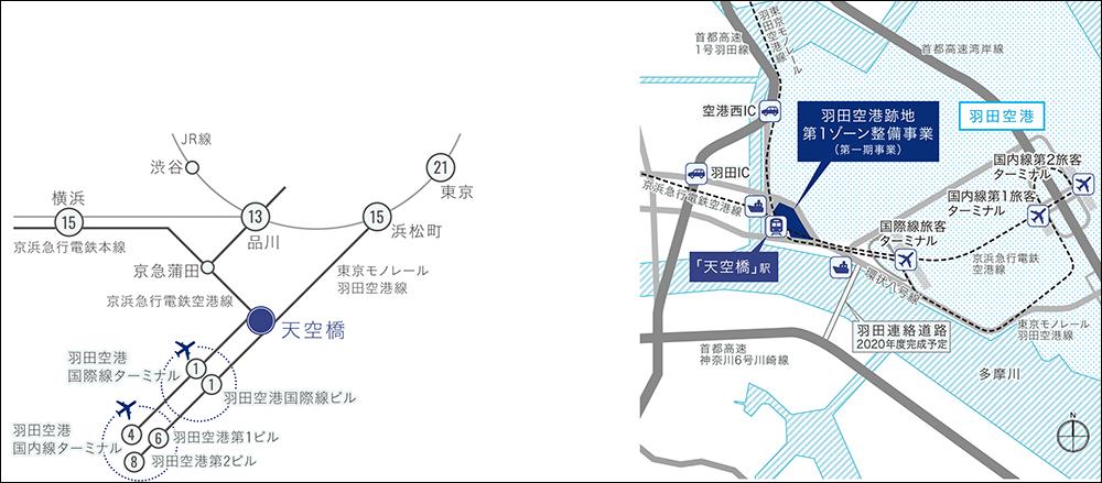 アクセスマップ(画像提供:羽田みらい開発株式会社)